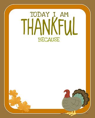 today I am thankful because freebie