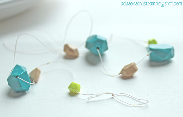 DIY modern clay beads necklace