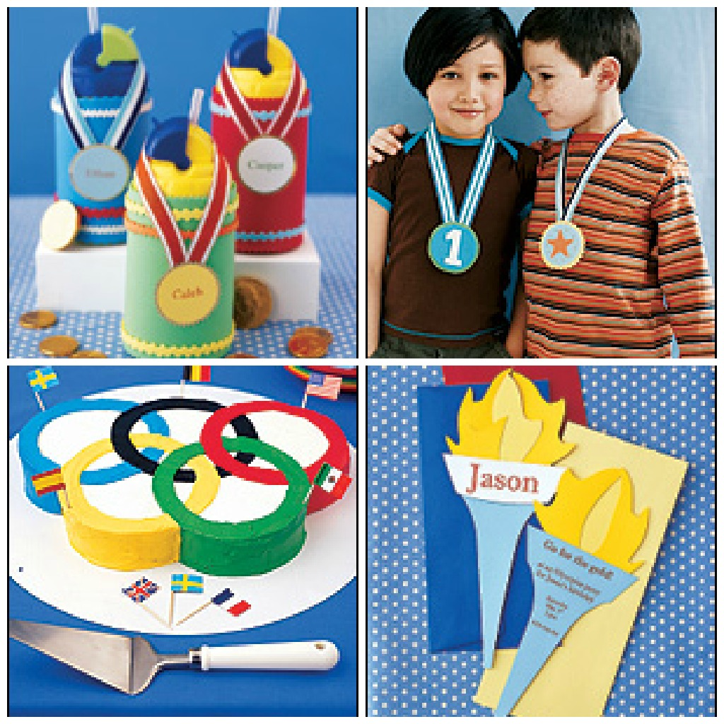 Olympics inspired kid's birthday party, with DIY Olympics Torch