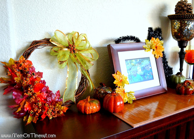 dollar store fall mantel