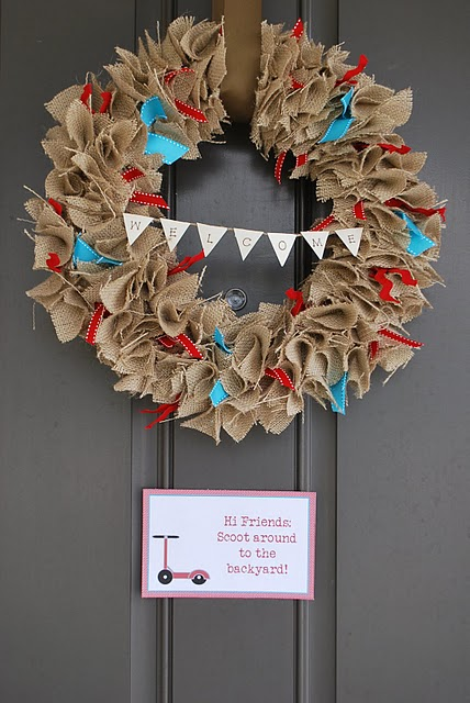 DIY wreath with burlap