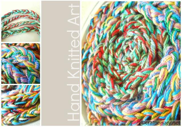 finger knitted wall art