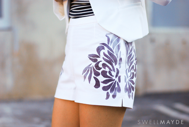 fabric painted shorts