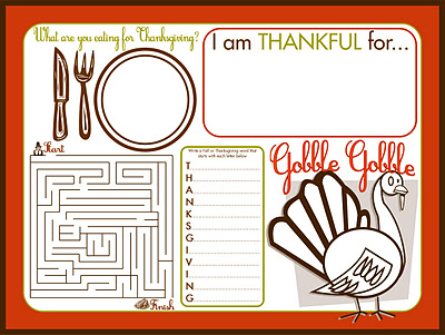 thanksgiving kids activity place mat