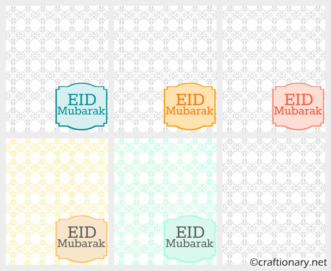 To Print The Light EID MUBARAK Greeting Cards Collection (ideal Size 5×7).  Eid Card Templates