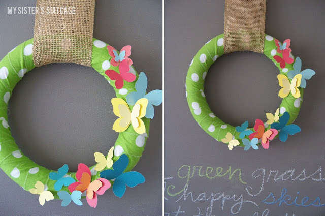 make butterfly paint chip wreath tutorial