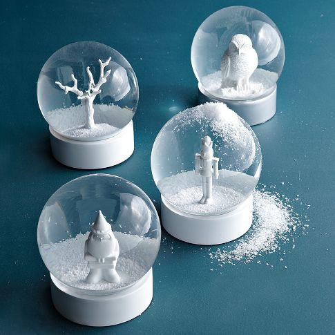 white snow globes