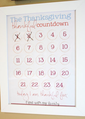 count down calendar thanksgiving