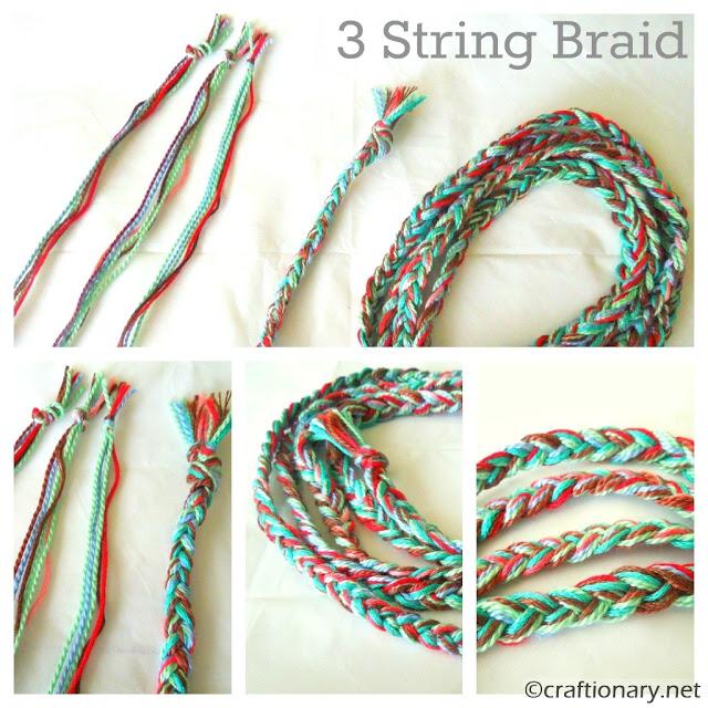 3 strings braid bracelet tutorial