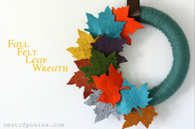 DIY fall felt leaf wreath