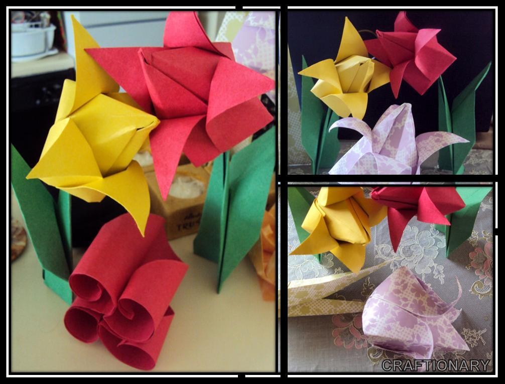 How to Make an Origami Tulip Flower Instructions : 4 Steps - Instructables | 765x1006