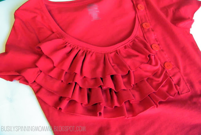 sewing ruffles tee project