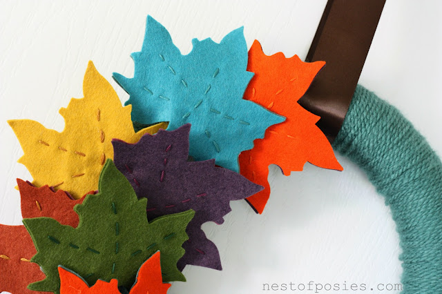 Fall Autumn DIY wreath with felt leaves