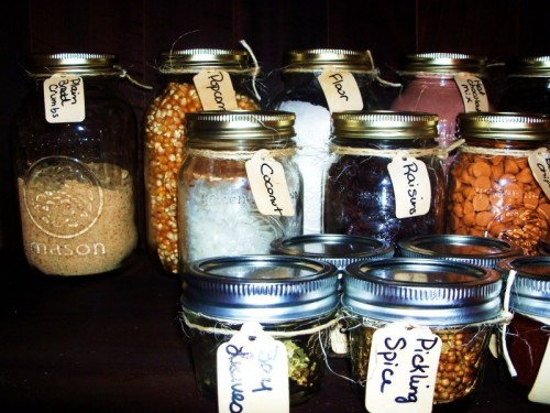 Mason Jars And Test Tubes As Spice Containers.