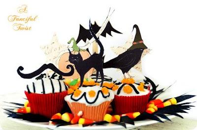 halloween cats raven bats toppers freebie