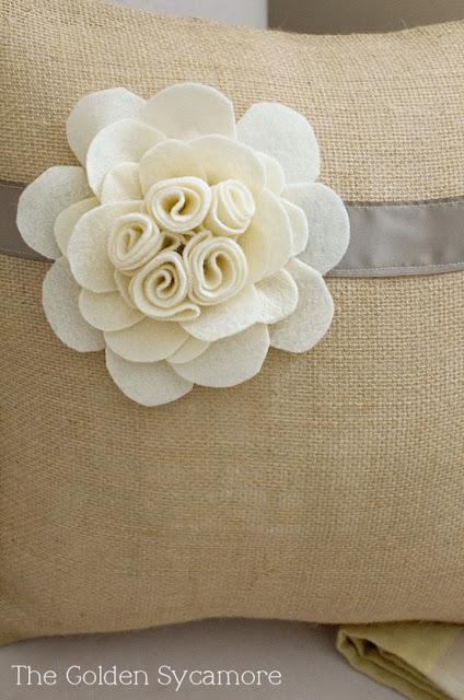 Felt flower burlap pillow