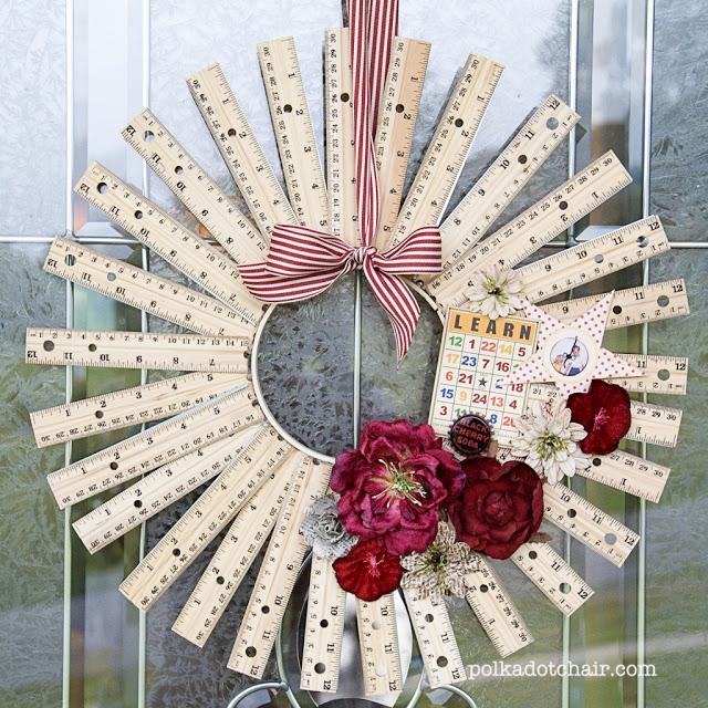 diy ruler wreath scale wreath blog project