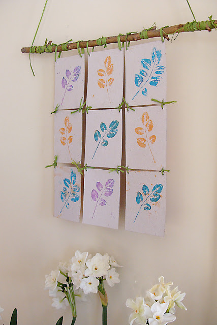 DIY leaf wall art