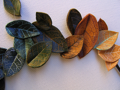 DIY clay leaves
