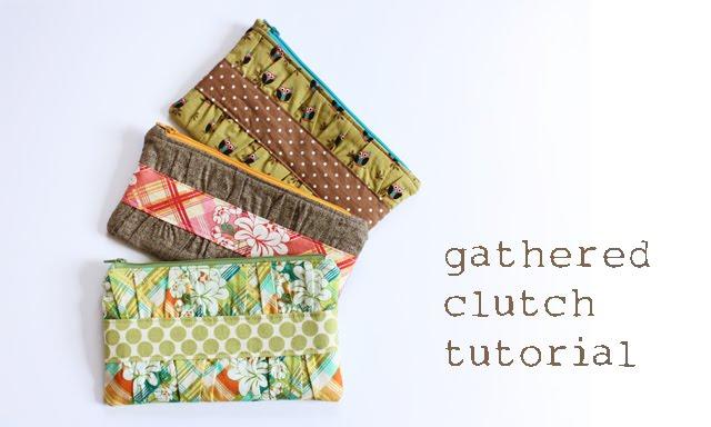 gathered handmade clutch